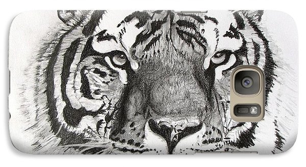 Galaxy Case featuring the drawing Tiger On Piece Of Paper by Kevin F Heuman