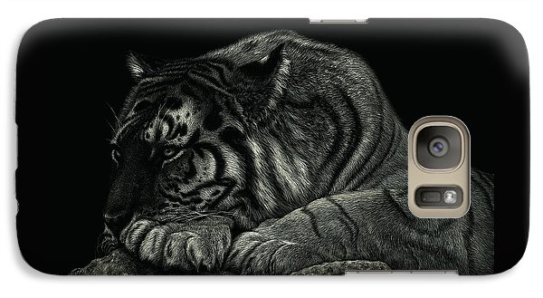 Galaxy Case featuring the drawing Tiger Power At Peace by Sandra LaFaut