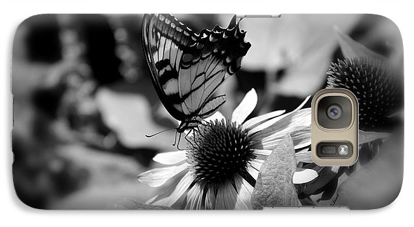 Galaxy Case featuring the photograph Tiger Swallowtail In Black And White by Yumi Johnson