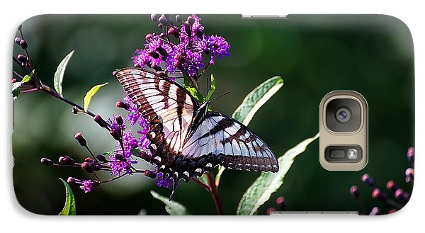 Galaxy Case featuring the photograph Tiger Swallowtail On Purple by Beth Akerman