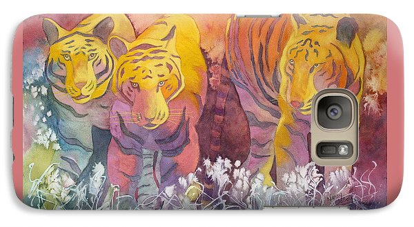 Galaxy Case featuring the painting Tiger Trio by Nancy Jolley