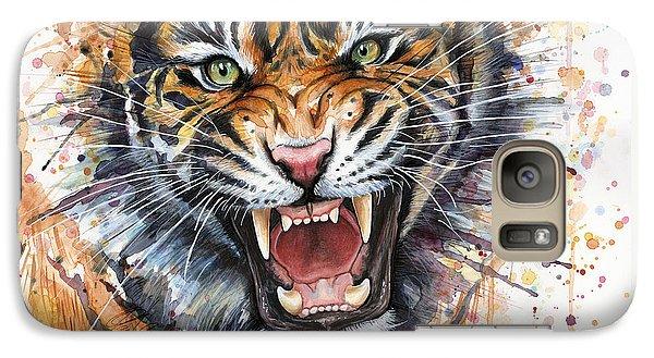 Tiger Watercolor Portrait Galaxy S7 Case