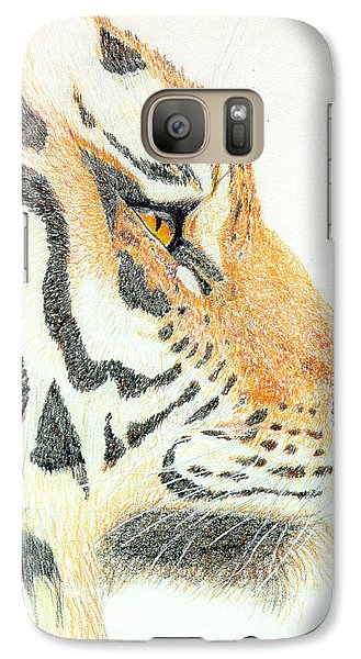 Galaxy Case featuring the drawing Tiger's Head by Stephanie Grant