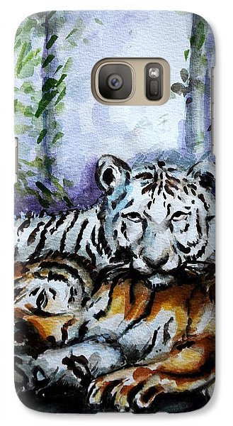 Galaxy Case featuring the painting Tigers-mother And Child by Harsh Malik
