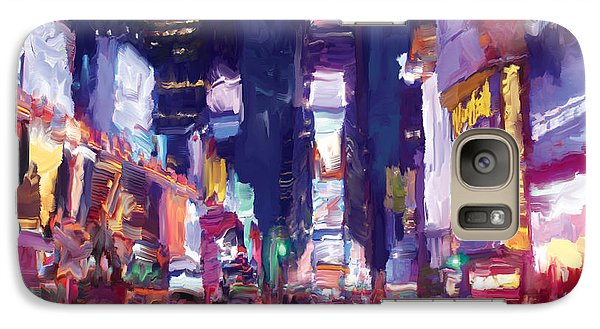 Galaxy Case featuring the painting Amy's Time Square In The Rain by Tim Gilliland