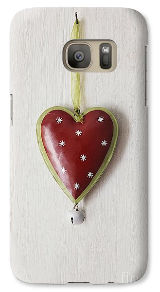 Galaxy Case featuring the photograph Tin Heart Hanging On Wood by Sandra Cunningham