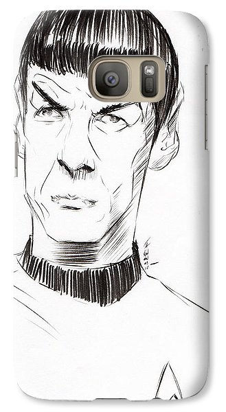Galaxy Case featuring the drawing To Boldly Go...... by Tu-Kwon Thomas