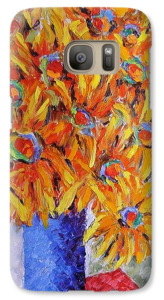 Galaxy Case featuring the painting Today I Think In Yellow by Nina Mitkova