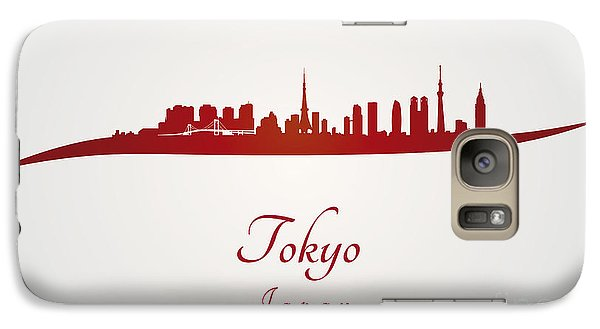 Tokyo Skyline In Red Galaxy Case by Pablo Romero
