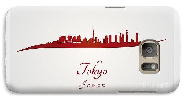 Tokyo Skyline Galaxy S7 Case - Tokyo Skyline In Red by Pablo Romero