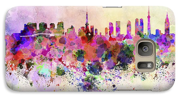 Tokyo Skyline In Watercolor Background Galaxy S7 Case