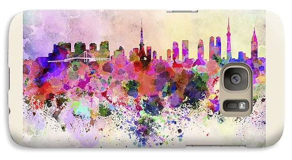 Tokyo Skyline In Watercolor Background Galaxy S7 Case by Pablo Romero