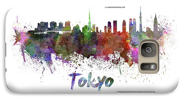 Tokyo Skyline In Watercolor Galaxy S7 Case by Pablo Romero