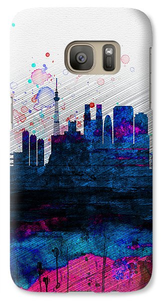 Tokyo Watercolor Skyline 2 Galaxy S7 Case by Naxart Studio