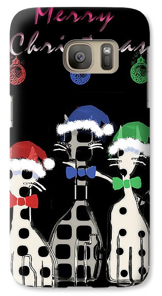 Galaxy Case featuring the digital art Toon Cats Christmas by Arline Wagner