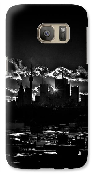 Galaxy Case featuring the photograph Toronto Canada Skyline At Sunset From The Pape St Bridge by Brian Carson