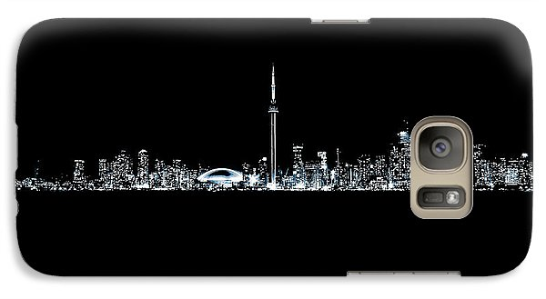 Galaxy Case featuring the photograph Toronto Skyline At Night From Centre Island Monochrome by Brian Carson
