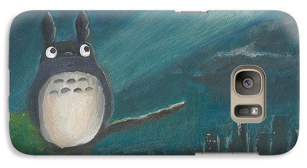 Galaxy Case featuring the painting Totoro Batman And Los Angeles by Jessmyne Stephenson