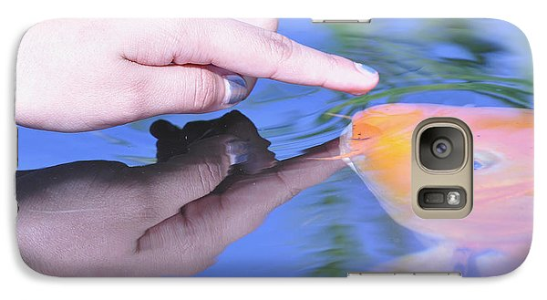 Galaxy Case featuring the photograph Touching The Koi by Debby Pueschel