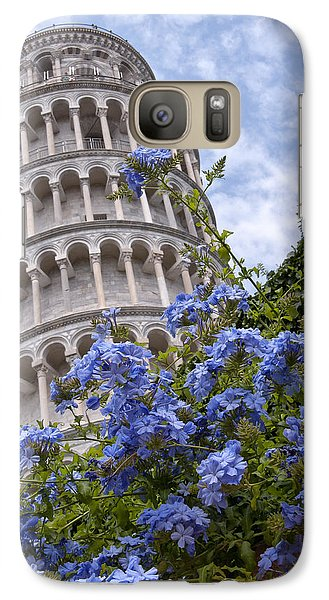 Tower Of Pisa With Blue Flowers Galaxy S7 Case by Melany Sarafis