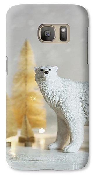 Galaxy Case featuring the photograph Toy Polar Bear With Little Gold Trees And Lights by Sandra Cunningham