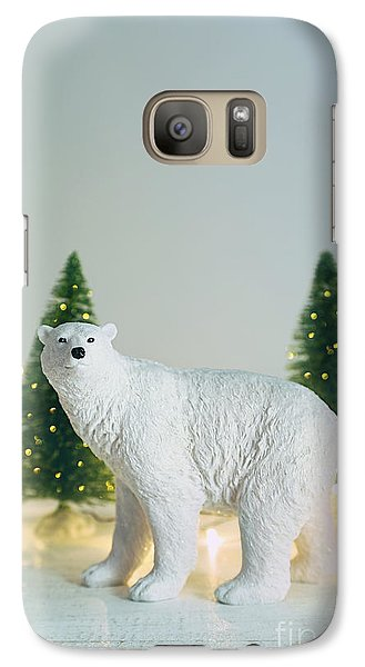 Galaxy Case featuring the photograph Toy Polar Bear With Little Trees And Lights by Sandra Cunningham