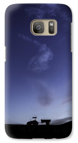 Galaxy Case featuring the photograph Tractor At Sunset by Justin Albrecht