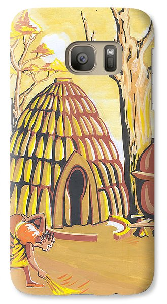 Galaxy Case featuring the painting Traditional House Massa Northern Cameroon by Emmanuel Baliyanga