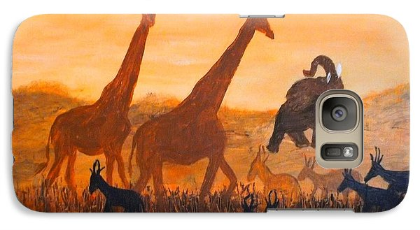 Galaxy Case featuring the painting Traffick On Serengeti by Donna Dixon