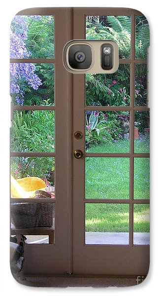 Galaxy Case featuring the photograph Tranquility Through French Doors by Bev Conover