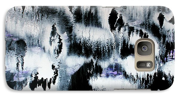 Galaxy Case featuring the painting Dancing In The Rain Abstract Contemporary Painting by Michelle Joseph-Long