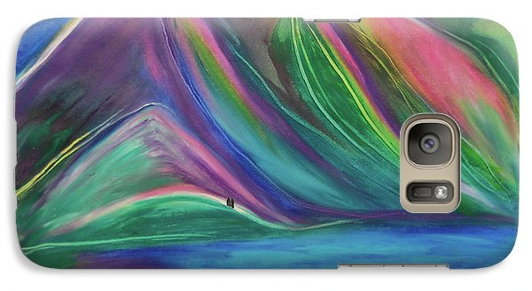 Galaxy Case featuring the painting Travelers Mountains By Jrr by First Star Art