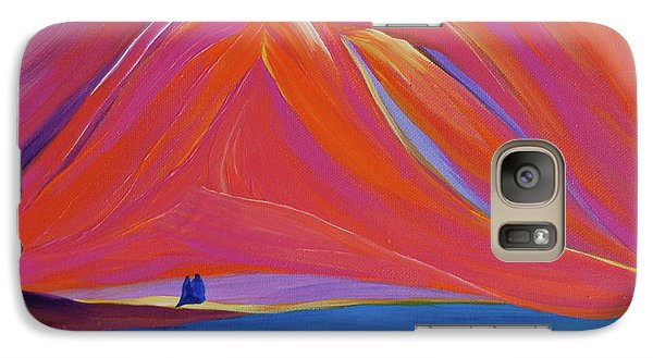 Galaxy Case featuring the painting Travelers Pink Mountains by First Star Art