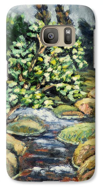 Galaxy Case featuring the painting Tree And Stream by Michael Daniels
