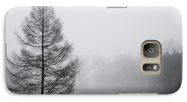 Galaxy Case featuring the photograph Tree By The Snowy Lake by Ed Cilley