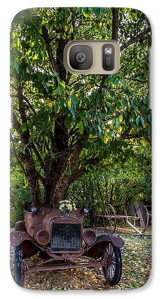 Galaxy Case featuring the photograph Tree Growing Out Of Old Car - 1 by Rob Green