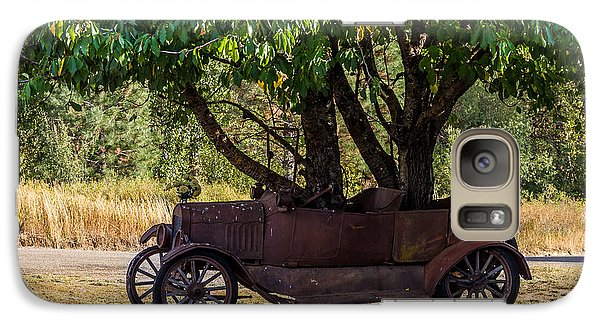 Galaxy Case featuring the photograph Tree Growing Out Of Old Car - 2  by Rob Green