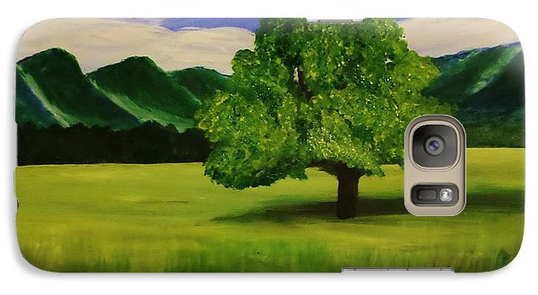 Galaxy Case featuring the painting Tree In A Field by Christy Saunders Church