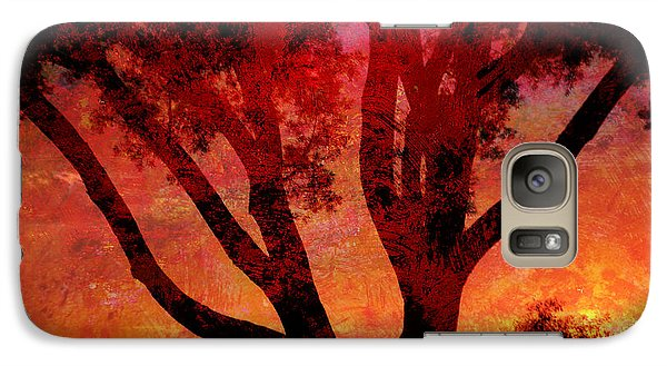 Galaxy Case featuring the mixed media Tree Silhouette In Sunset Abstraction by John Fish