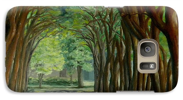 Galaxy Case featuring the painting Treelined Walkway At Lsu In Shreveport Louisiana by Lenora  De Lude