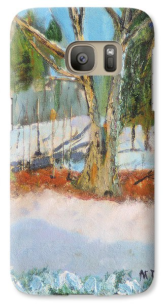 Galaxy Case featuring the painting Trees And Snow Plein Air by Michael Daniels