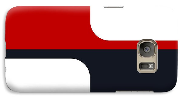 Galaxy Case featuring the digital art Trendy White Red And Navy Graphic Color Blocks by Tracie Kaska