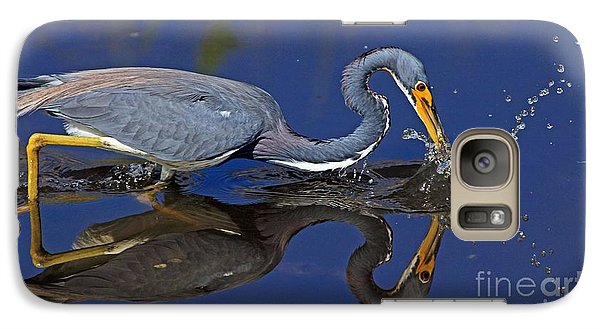 Galaxy Case featuring the photograph Tri Color Heron Splash by Larry Nieland