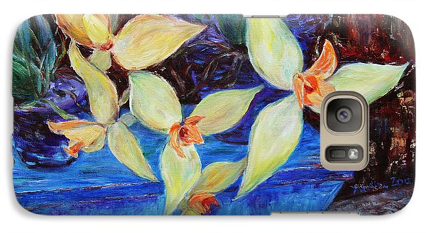 Galaxy Case featuring the painting Triangular Blossom by Xueling Zou