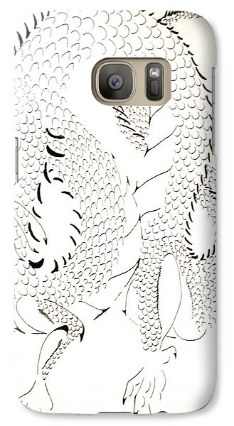 Galaxy Case featuring the drawing Tribal Dragon by Wendy Coulson