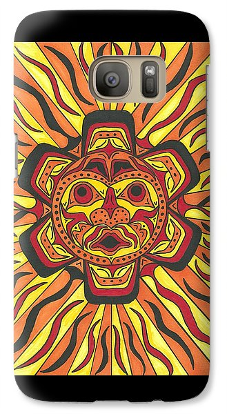 Galaxy Case featuring the painting Tribal Sunface Mask by Susie Weber