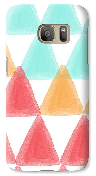 Trifold- Colorful Abstract Pattern Painting Galaxy S7 Case by Linda Woods