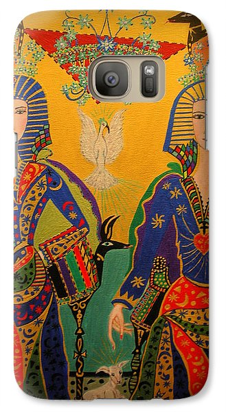 Galaxy Case featuring the painting Trinity by Marie Schwarzer