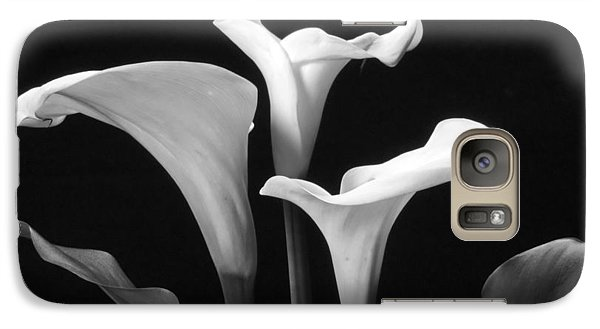 Galaxy Case featuring the photograph Trio Of White Calla Lilies In Black And White by Harold Rau