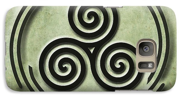 Galaxy Case featuring the painting Triple Spiral Black And Green Celtic Art by Kandy Hurley